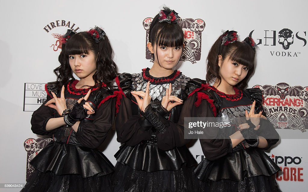 Sukuka Nakamoto 'SuMetal' Yui Mizuno as 'Yuimetal' and Moa Kikuchi as 'Moametal' of Baby Metal attend the Kerrang Awards 2016 at the Troxy on June 9...