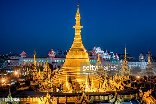 Sule Pagoda at Night Yangon Myanmar Burma