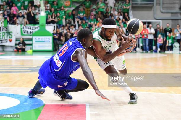 Suleiman Braimoh of Nanterre and Landing Sane of Paris Levallois during the Pro A match between Nanterre and Paris Levallois on May 16 2017 in...