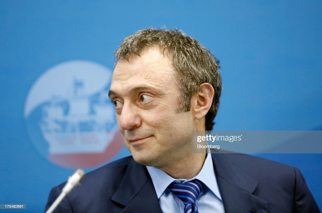 Suleiman Kerimov, Russian billionaire, reacts during a conference session on the opening day of the St. Petersburg International Economic Forum 2013 (SPIEF) in St. Petersburg, Russia, on Thursday, June 20, 2013. Russian consumer spending probably eased and investment shrank at the fastest pace since 2011, adding to evidence the $2 trillion economy is stalling. Photographer: Simon Dawson/Bloomberg via Getty Images