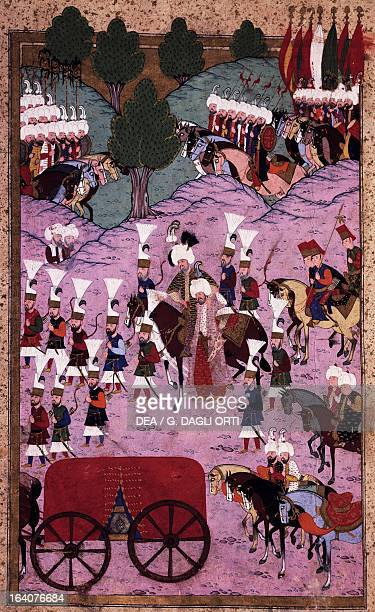 Suleiman the Magnificent's troops setting out to attack Hungary gouache on paper from Suleymanname by Lokman Ottoman manuscript Turkey 16th century...