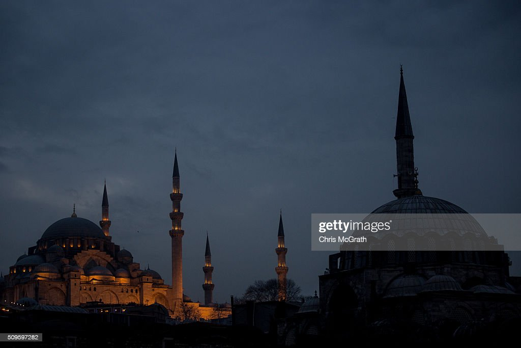 Suleymaniye Mosque is seen at sunset on February 11, 2016 in Istanbul, Turkey. Istanbul is famous for its skyline dotted with historic mosques, it is home to more than 3000 mosques, the most of any city in Turkey and includes the famous Blue Mosque and Suleymaniye Mosque.