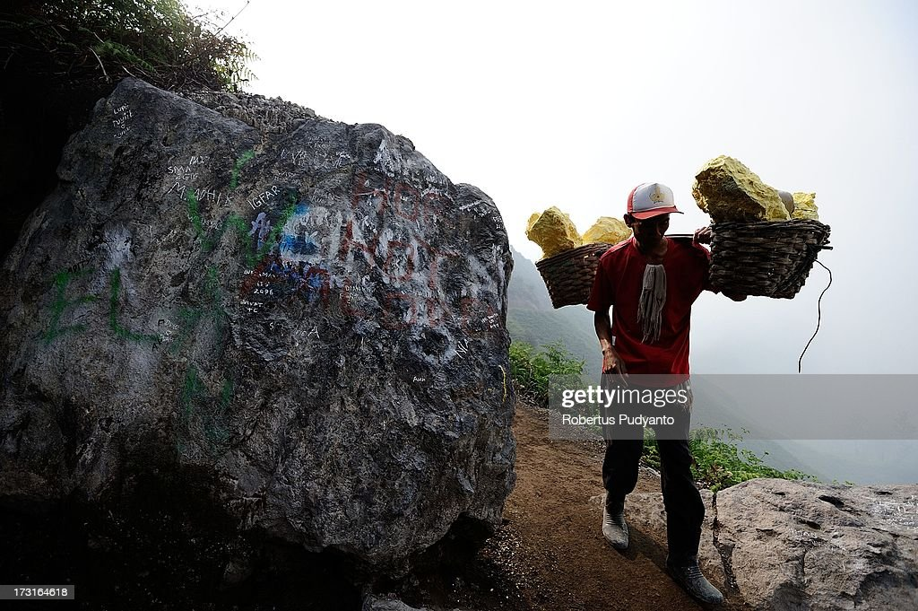 A sulfur miner carries two baskets of heavy sulfur to a weighing station on July 9, 2013 in Arjuna, Java, Indonesia. Ijen Crater, which is known as Kawah Ijen, is located in the Ijen Volcano region, bordered by Banyuwangi and Bondowoso in East Java Province, Indonesia. Ijen Volcano is 2,600 meters tall (8,660 ft), topped with a large caldera and a 200 meter deep lake of sulfuric acid. The quietly active volcano emits gases through fumaroles inside the crater, and local miners have tapped those gases to earn a living. Stone and ceramic pipes cap the fumaroles, and inside the sulfur condenses into a molten red liquid, dripping back down and solidifying into pure sulfur. Miners hack chunks off with steel bars, braving extremely dangerous gases and liquids with minimal protection, then load up as much as they can carry for the more than 3 kilometers to the weighing station. Loads can weigh from 50 to 90 kg (100 - 200 lbs), and a single miner might make as many as two or three trips return in a day. At the end of a long day, miners take home approximately Rp. 50,000. The sulfur is then used for vulcanizing rubber, bleaching sugar and other industrial processes nearby. Sulfur widely used in fertilizer industry, cosmetics, skin disease drug, insecticides, paper, paints, plastics, petroleum processing, rubber and tire industry, sugar industry, batteries, chemicals industrial, explosives, weaving, film and photography, and also in metal or steel industry.