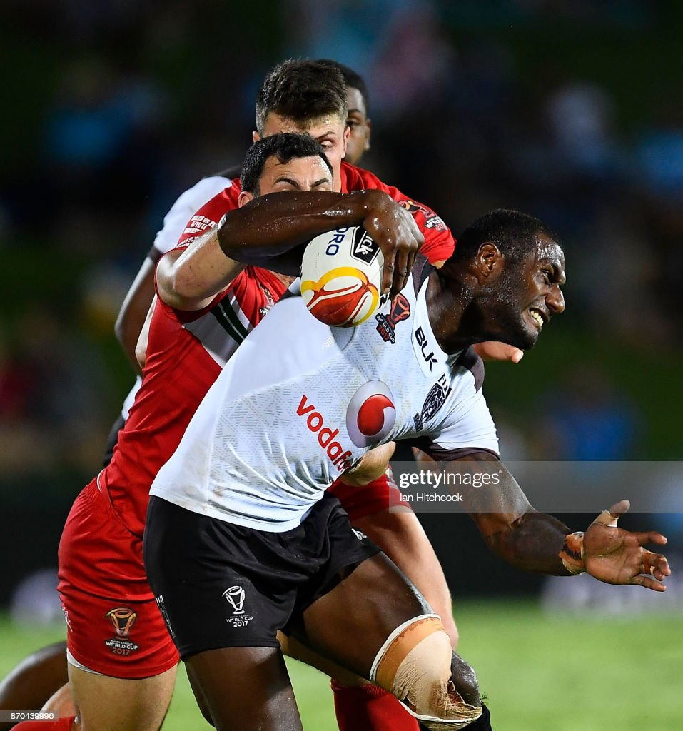 Suliasi Vunivalu of Fiji is tackled by Rhys Williams of Wales during the 2017 Rugby League World Cup match between Fiji and Wales at 1300SMILES Stadium on November 5, 2017 in Townsville, Australia.