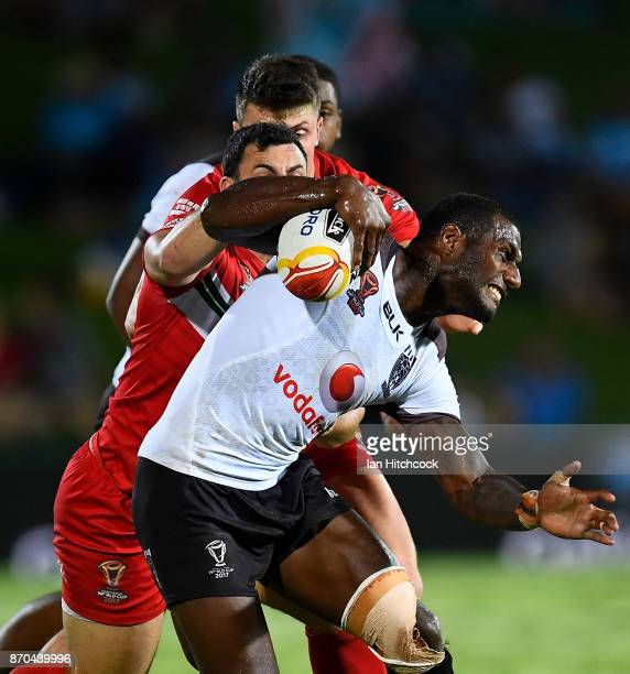 Suliasi Vunivalu of Fiji is tackled by Rhys Williams of Wales during the 2017 Rugby League World Cup match between Fiji and Wales at 1300SMILES...