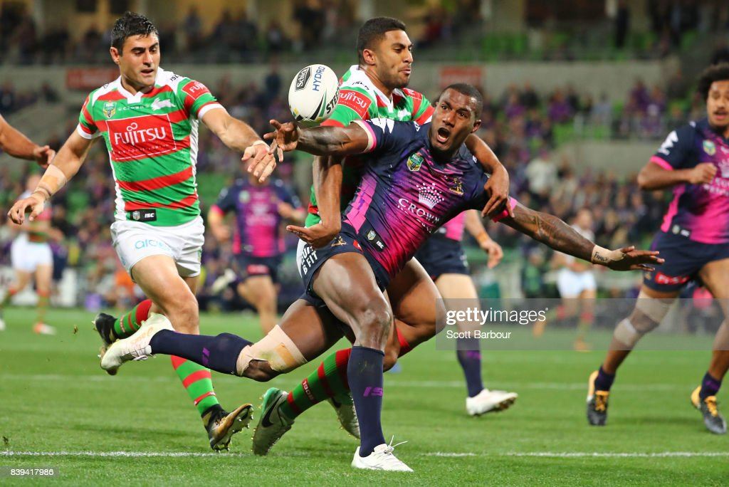 Suliasi Vunivalu of the Storm is awarded a penalty try during the round 25 NRL match between the Melbourne Storm and the South Sydney Rabbitohs at AAMI Park on August 26, 2017 in Melbourne, Australia.