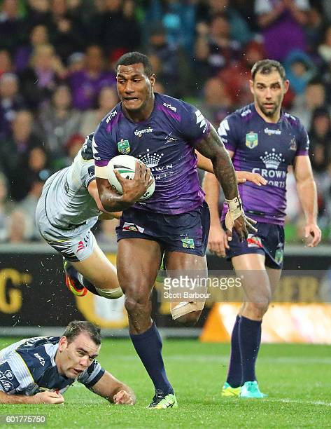Suliasi Vunivalu of the Storm runs away to score his teams first try during the NRL Qualifying Final match between the Melbourne Storm and the North...