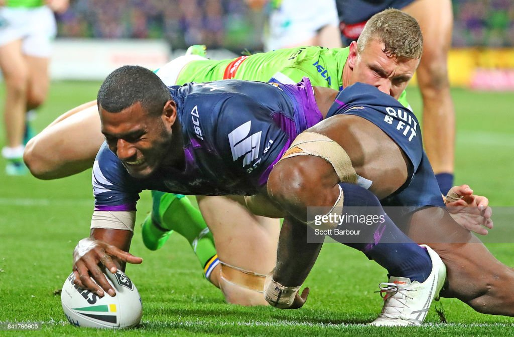 Suliasi Vunivalu of the Storm scores a try during the round 26 NRL match between the Melbourne Storm and the Canberra Raiders at AAMI Park on September 2, 2017 in Melbourne, Australia.