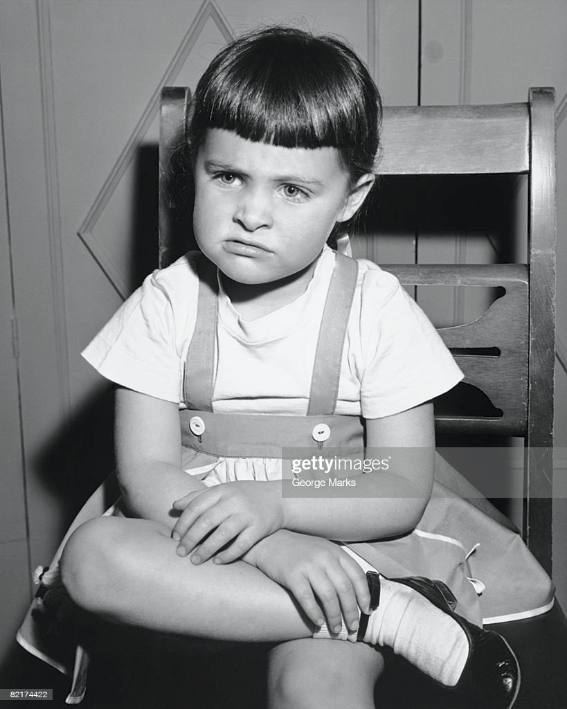 Black child sitting in chair - Sulking Girl 4 5 Sitting On Chair B W