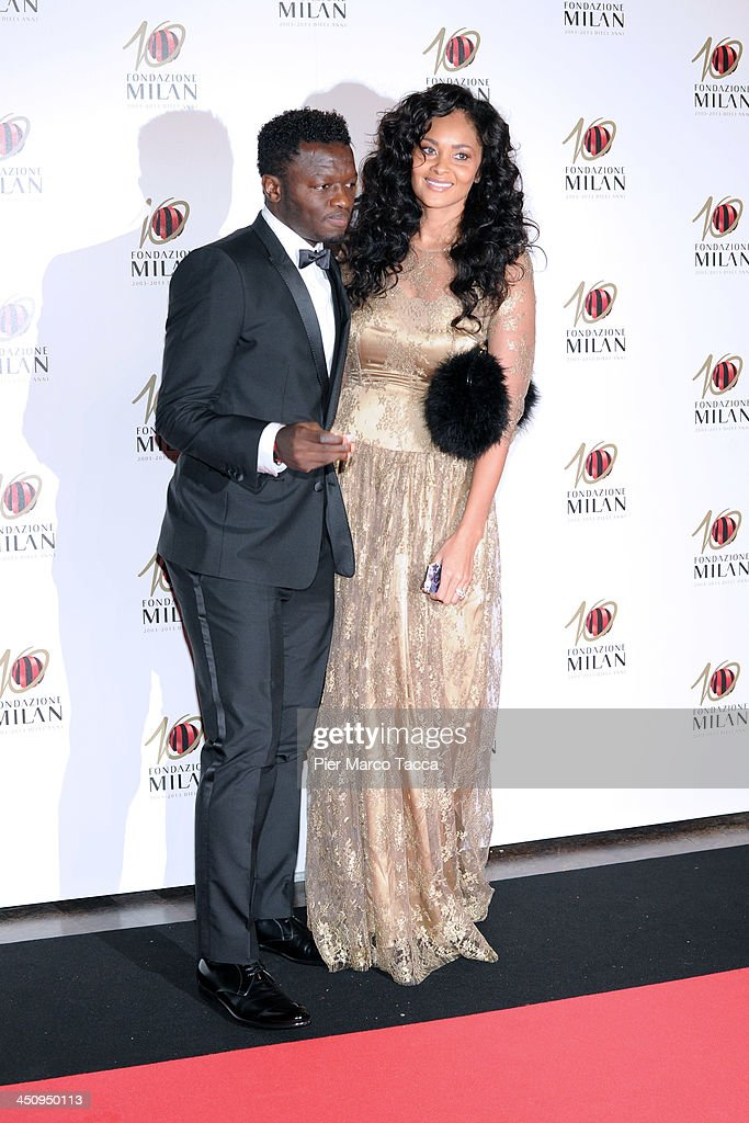<a gi-track='captionPersonalityLinkClicked' href=/galleries/search?phrase=Sulley+Ali+Muntari&family=editorial&specificpeople=533057 ng-click='$event.stopPropagation()'>Sulley Ali Muntari</a> and Menaye Donkor attend the Fondazione Milan 10th Anniversary Gala photocall on November 20, 2013 in Milan, Italy.