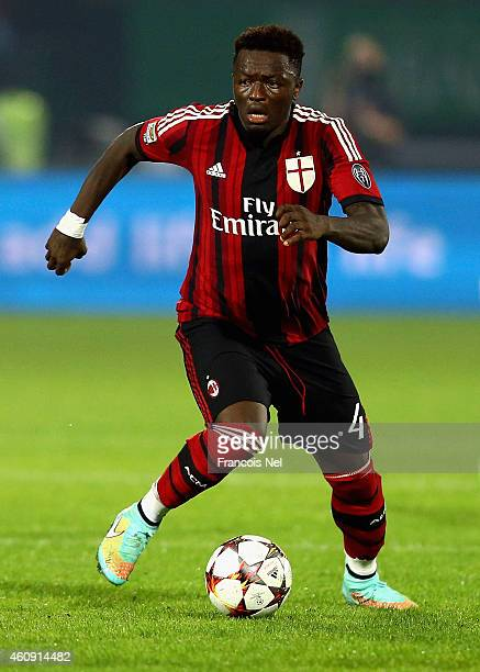 Sulley Ali Muntari of AC Milan breaks with the ball during the Dubai Football Challenge match between AC Milan and Real Madrid at The Sevens Stadium...