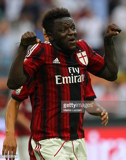 Sulley Ali Muntari of AC Milan celebrates after scoring his goal during the Serie A match between AC Milan and SS Lazio at Stadio Giuseppe Meazza on...