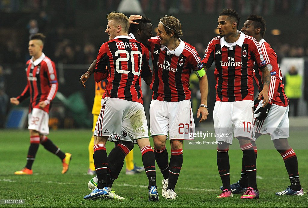 Sulley Ali Muntari (2nd L) of AC Milan celebrates his goal with team mates during the UEFA Champions League Round of 16 first leg match between AC Milan and Barcelona at San Siro Stadium on February 20, 2013 in Milan, Italy.