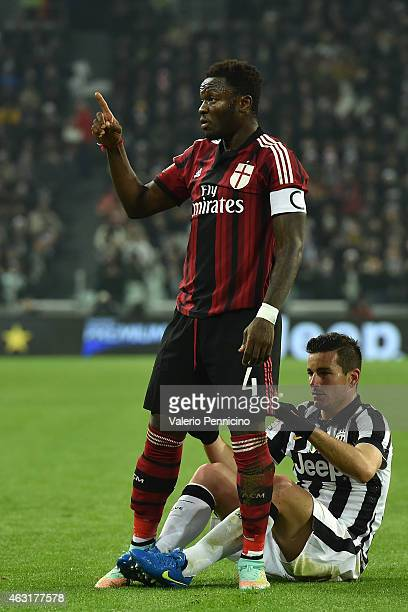 Sulley Ali Muntari of AC Milan gestures during the Serie A match between Juventus FC and AC Milan at Juventus Arena on February 7 2015 in Turin Italy