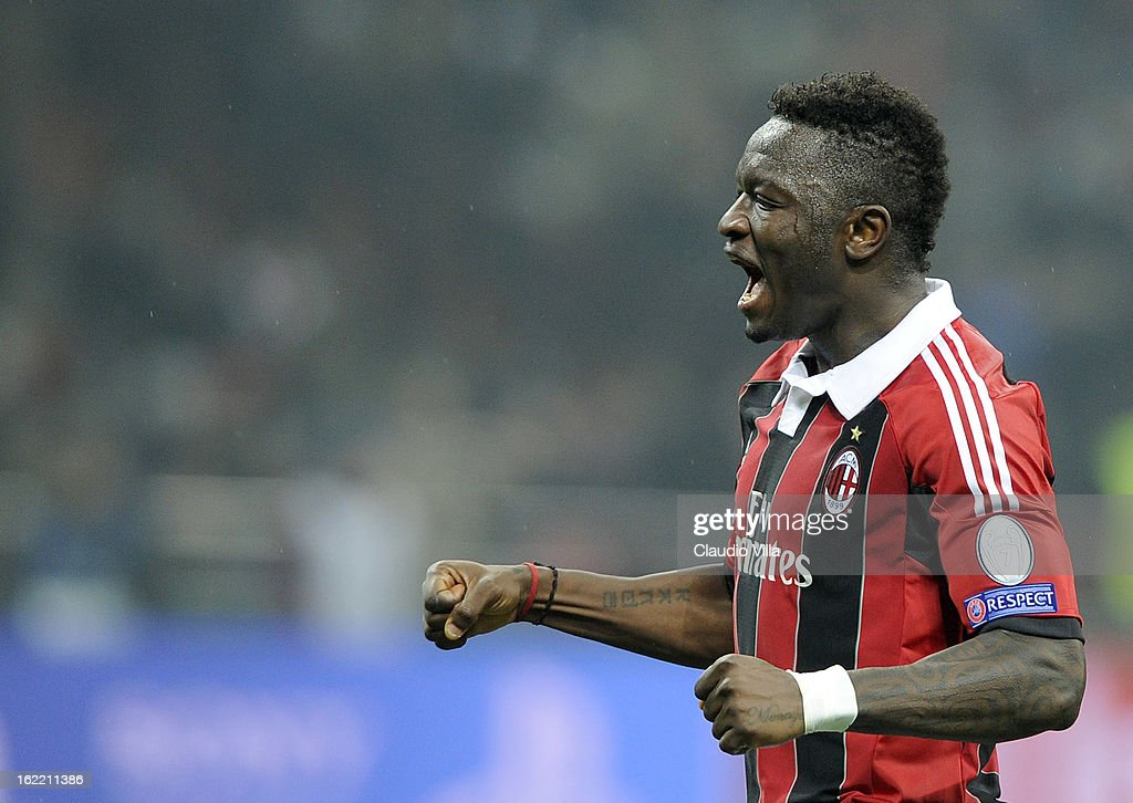 Sulley Muntari of AC Milan celebrates victory at the end of the UEFA Champions League Round of 16 first leg match between AC Milan and Barcelona at San Siro Stadium on February 20, 2013 in Milan, Italy.