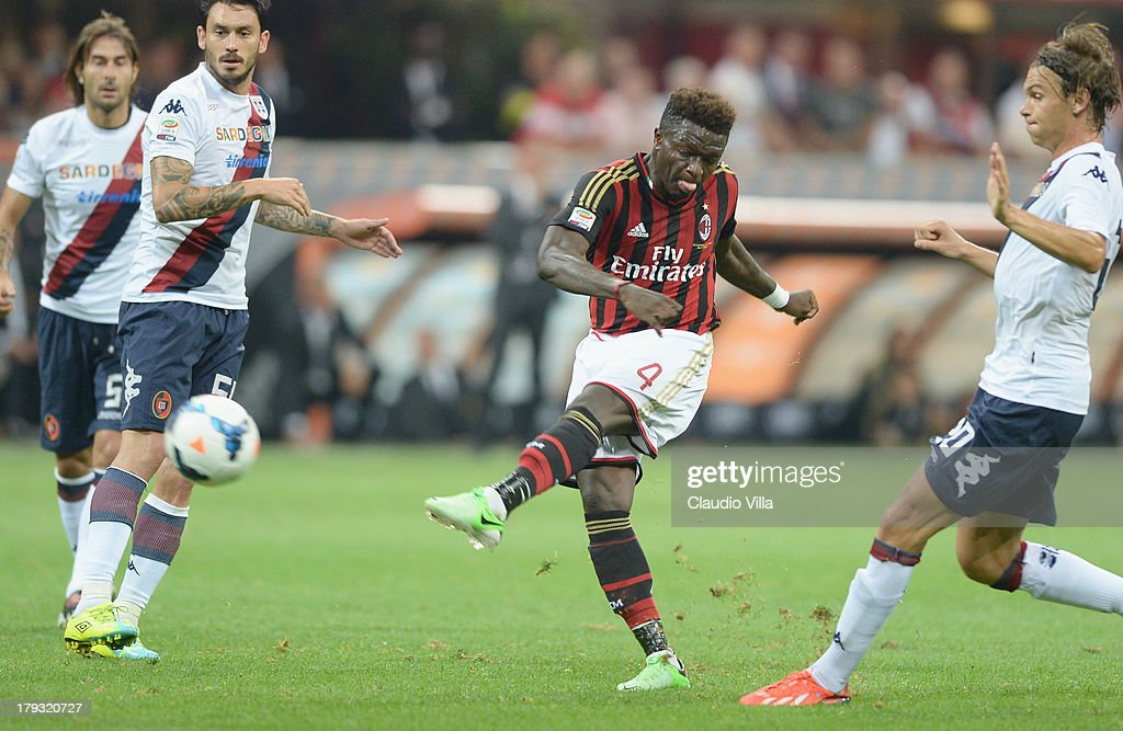 Sulley Muntari of AC Milan in action during the Serie A match between AC Milan and Cagliari Calcio at San Siro Stadium on September 1, 2013 in Milan, Italy.