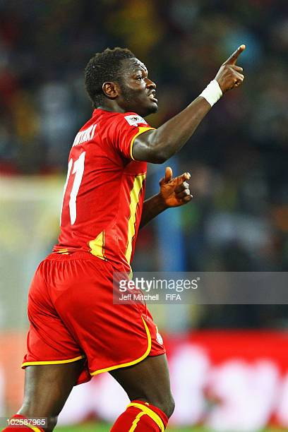 Sulley Muntari of Ghana celebrates after he scores his side's first goal during the 2010 FIFA World Cup South Africa Quarter Final match between...