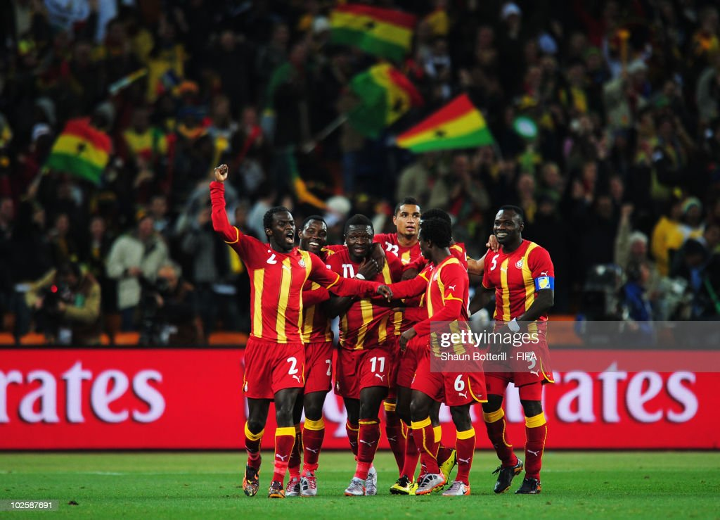 Sulley Muntari of Ghana (11) celebrates with team mates after he scores his side's first goal during the 2010 FIFA World Cup South Africa Quarter Final match between Uruguay and Ghana at the Soccer City stadium on July 2, 2010 in Johannesburg, South Africa.