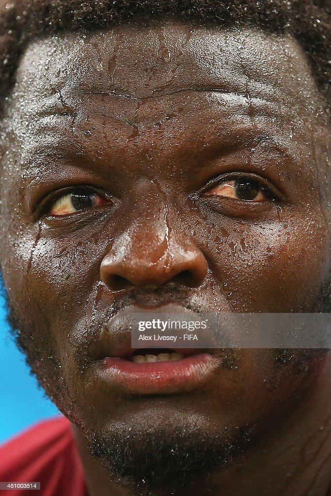 Sulley Muntari of Ghana reacts after the 2-2 draw in the 2014 FIFA World Cup Brazil Group G match between Germany and Ghana at Castelao on June 21, 2014 in Fortaleza, Brazil.