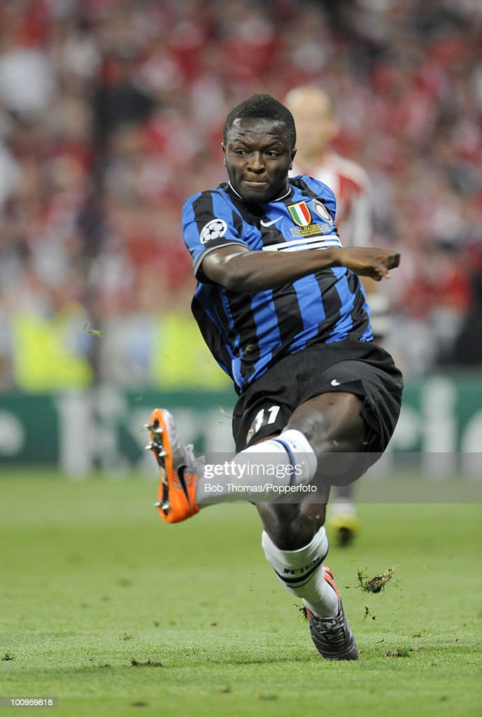 Sulley Muntari of Inter Milan during the UEFA Champions League Final match between Bayern Munich and Inter Milan at the Estadio Santiago Bernabeu on May 22, 2010 in Madrid, Spain.