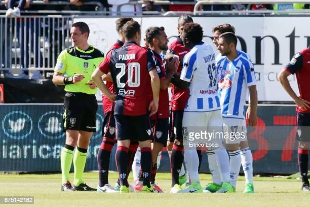 Sulley Muntari of Pescara react during the Serie A match between Cagliari Calcio and Pescara Calcio at Stadio Sant'Elia on April 30 2017 in Cagliari...