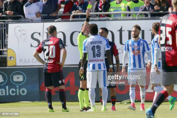Sulley Muntari of Pescara react during the Serie A match between Cagliari Calcio and Pescara Calcio at Stadio Sant'Elia on April 30 2017 in Cagliari...