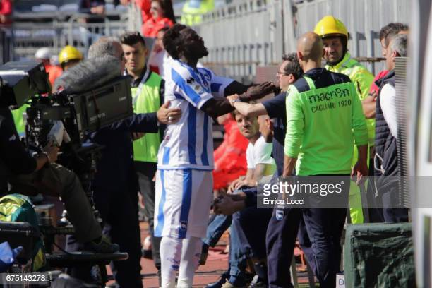 Sulley Muntari of Pescara reacts during the Serie A match between Cagliari Calcio and Pescara Calcio at Stadio Sant'Elia on April 30 2017 in Cagliari...