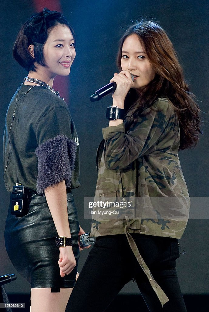 Sulli and Krystal of South Korean girl group f(x) perform onstage during the 1st K-Drama Star Awards at Daejeon Convention Center on December 8, 2012 in Daejeon, South Korea.