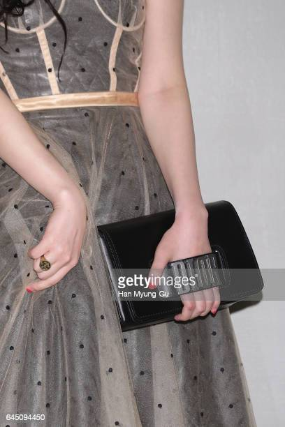 Sulli bag detail of girl group f attends the photocall for Dior 2017 S/S Collection at Shinsegae Department Store on February 24 2017 in Seoul South...