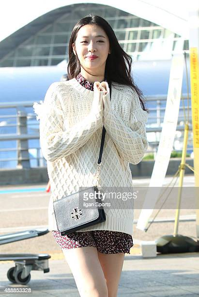 Sulli is seen at Incheon International Airport on September 14 2015 in Incheon South Korea