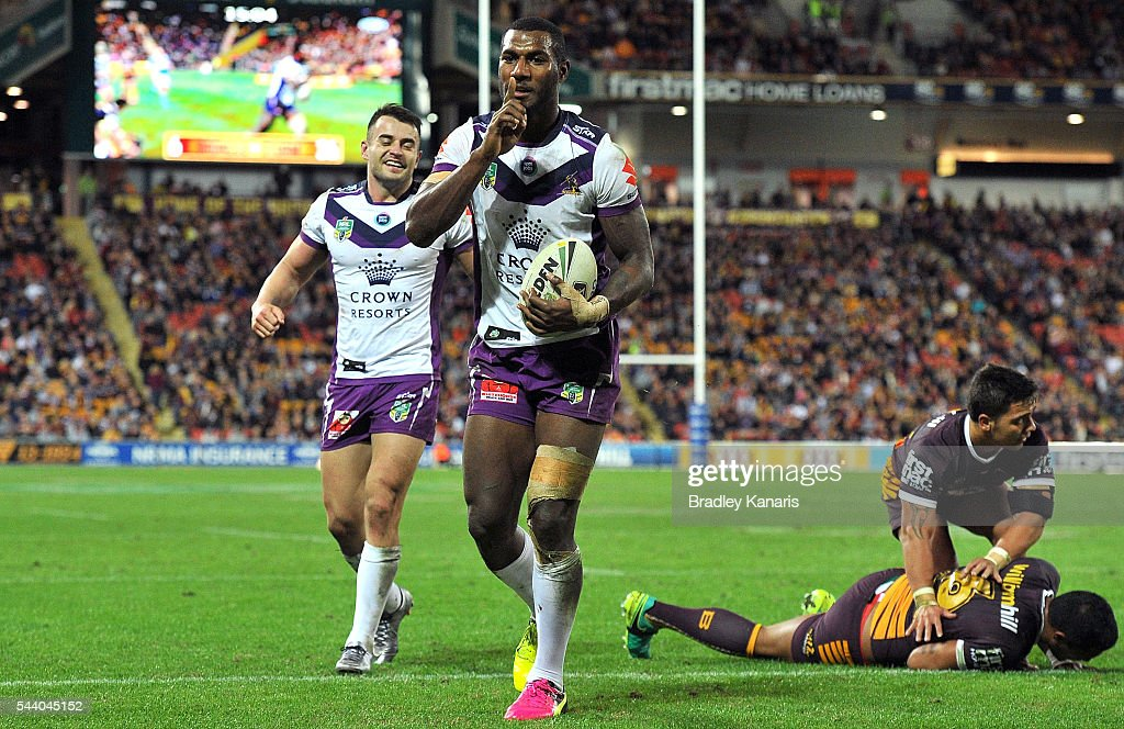 Sullies Vunivalu of the Storm celebrates scoring a try during the round 17 NRL match between the Brisbane Broncos and the Melbourne Storm at Suncorp Stadium on July 1, 2016 in Brisbane, Australia.
