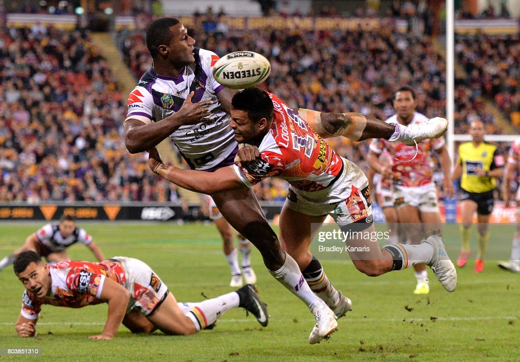 Sullies Vunivalu of the Storm gets a plays a shots away during the round 17 NRL match between the Brisbane Broncos and the Melbourne Storm at Suncorp Stadium on June 30, 2017 in Brisbane, Australia.