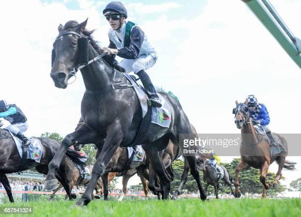 Sullivan Bay ridden by Beau Mertens wins the No Fuss Event Hire Handicap at Mornington Racecourse on March 25 2017 in Mornington Australia