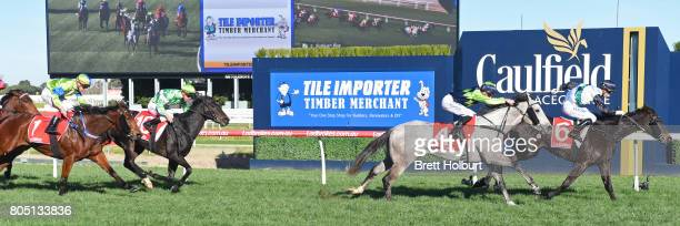 Sullivan Bay ridden by Cory Parish wins the Tile Importer Handicap at Caulfield Racecourse on July 01 2017 in Caulfield Australia