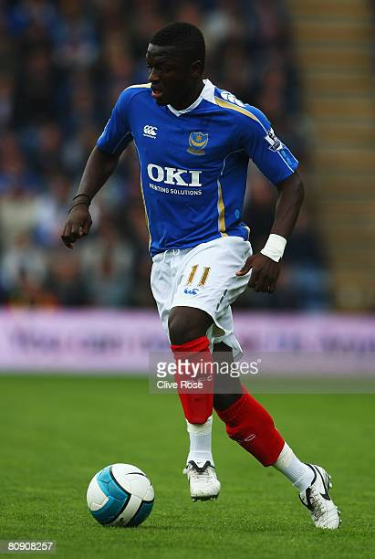 Sully Muntari of Portsmouth in action during the Barclays Premier League match between Portsmouth and Blackburn Rovers at Fratton Park on April 27...