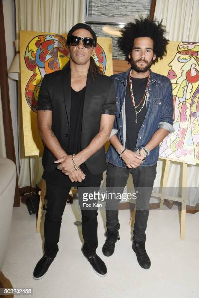 Sully Sefil and Nicolas Le Strat attend the Dimensions Lee Michel Exhibition Preview at Hotel Rennaissance on June 28 2017 in Paris France