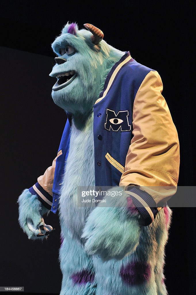 Sully, the character created by Pixar for the animated films 'Monsters, Inc.' and 'Monsters University' on stage at Hopkins Center Spaulding Auditorium at Dartmouth College on October 13, 2013 in Hanover, New Hampshire.