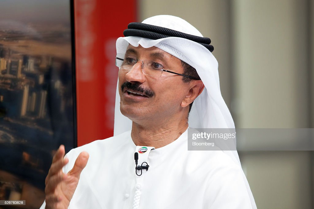 Sultan Ahmed Bin Sulayem, chief executive officer of DP World Ltd., gestures as he speaks during a Bloomberg Television interview in Dubai, United Arab Emirates, on Sunday, May 1, 2016. DP World, the port operator with terminals from China to the Netherlands, expects a return to growth in some European markets after a period of stagnation and said its avoided a hard landing in China. Photographer: Razan Alzayani/Bloomberg via Getty Images