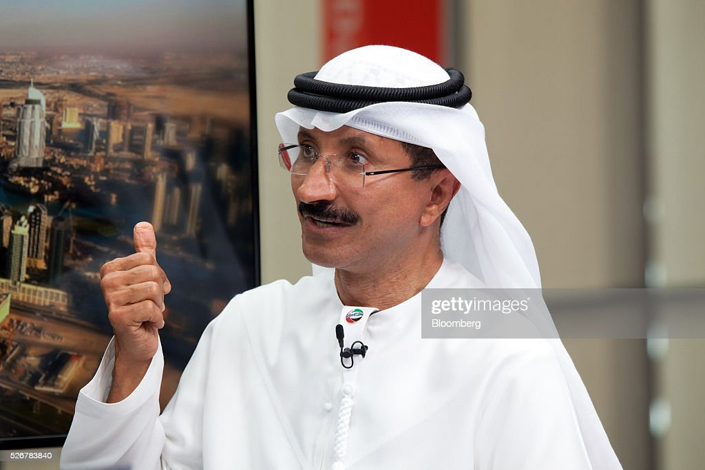 <a gi-track='captionPersonalityLinkClicked' href=/galleries/search?phrase=Sultan+Ahmed+Bin+Sulayem&family=editorial&specificpeople=2162633 ng-click='$event.stopPropagation()'>Sultan Ahmed Bin Sulayem</a>, chief executive officer of DP World Ltd., gestures as he speaks during a Bloomberg Television interview in Dubai, United Arab Emirates, on Sunday, May 1, 2016. DP World, the port operator with terminals from China to the Netherlands, expects a return to growth in some European markets after a period of stagnation and said its avoided a hard landing in China. Photographer: Razan Alzayani/Bloomberg via Getty Images