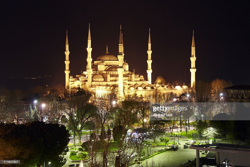 Sultan Ahmed (Blue) Mosque at night, Istanbul : Stock Photo