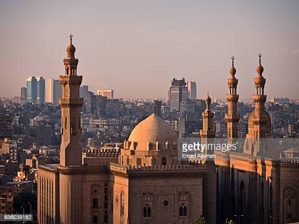 Sultan Hassan Mosque and Al-Rifai Mosque viewed from Cairo Citadel
