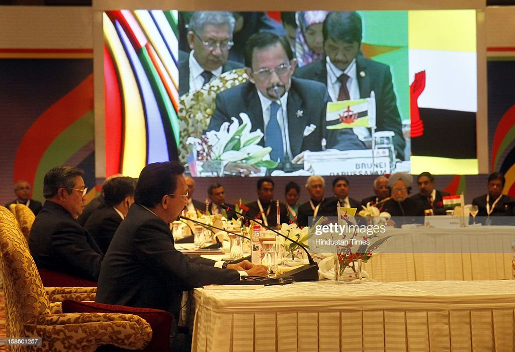 Sultan of Brunei Darussalam Haji Hassanal Bolkiah Mu' izzadin Waddaulah address the plenary session of the ASEAN-India Commemorative Summit on December 20, 2012 in New Delhi, India. The free trade agreement in services and investment between India and 10 ASEAN countries was finalised after intense negotiations. It would create one of the world's biggest free trade areas with a market of around 1.8 billion people and a combined gross domestic product of $2.8 trillion.
