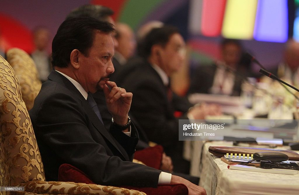 Sultan of Brunei Darussalam Haji Hassanal Bolkiah Mu' izzadin Waddaulah during the plenary session of the ASEAN-India Commemorative Summit on December 20, 2012 in New Delhi, India. The free trade agreement in services and investment between India and 10 ASEAN countries was finalised after intense negotiations. It would create one of the world's biggest free trade areas with a market of around 1.8 billion people and a combined gross domestic product of $2.8 trillion.