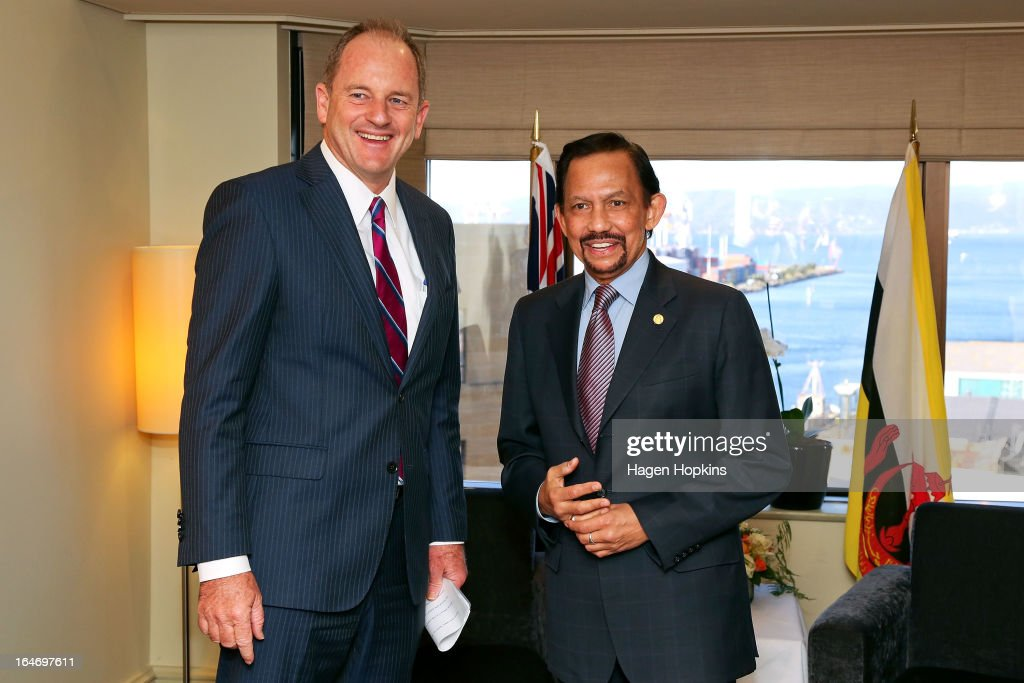 Sultan of Brunei Darussalam, His Majesty Hassanal Bolkiah meets with Labour leader David Shearer at the Intercontinental Hotel on March 27, 2013 in Wellington, New Zealand. The Sultan of Brunei is being hosted in New Zealand for an official visit over four days to strengthen ties between the two countries ahead of the Association of South East Asian Nations which is being hosted by Brunei later this year.