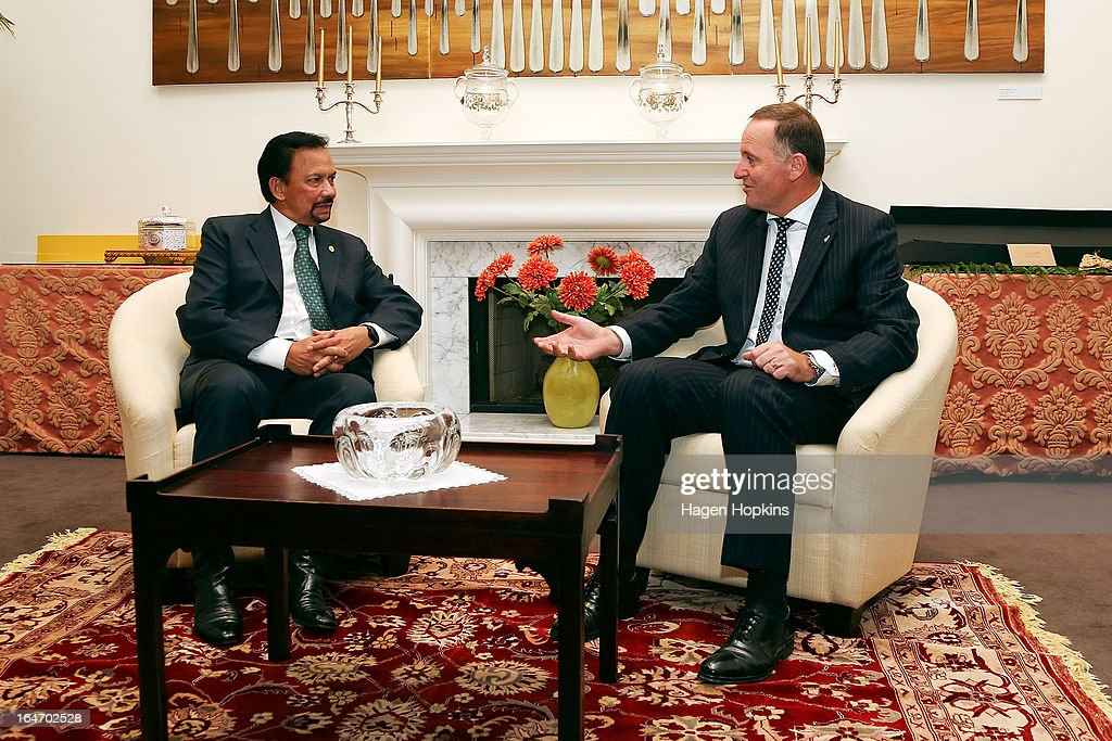 Sultan of Brunei Darussalam, His Majesty Hassanal Bolkiah meets with Prime Minister <a gi-track='captionPersonalityLinkClicked' href=/galleries/search?phrase=John+Key&family=editorial&specificpeople=2246670 ng-click='$event.stopPropagation()'>John Key</a> before an official dinner at Premier House on March 27, 2013 in Wellington, New Zealand. The Sultan of Brunei is being hosted in New Zealand for an official visit over four days to strengthen ties between the two countries ahead of the Association of South East Asian Nations which is being hosted by Brunei later this year.
