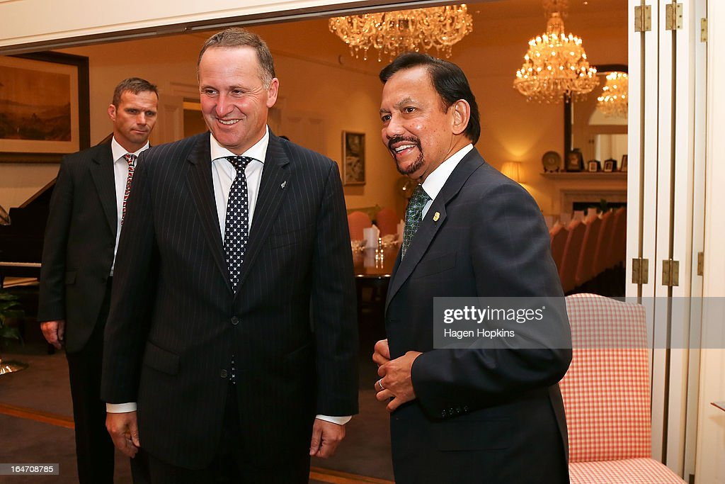 Sultan of Brunei Darussalam, His Majesty Hassanal Bolkiah meets with Prime Minister John Key before an official dinner at Premier House on March 27, 2013 in Wellington, New Zealand. The Sultan of Brunei is being hosted in New Zealand for an official visit over four days to strengthen ties between the two countries ahead of the Association of South East Asian Nations which is being hosted by Brunei later this year.
