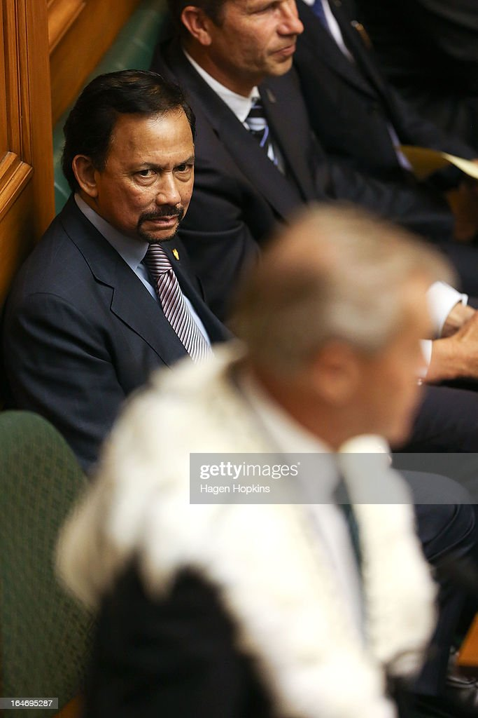 Sultan of Brunei Darussalam, His Majesty Hassanal Bolkiah observes question time in the House of Representatives during a visit to Parliament on March 27, 2013 in Wellington, New Zealand. The Sultan of Brunei is being hosted in New Zealand for an official visit over four days to strengthen ties between the two countries ahead of the Association of South East Asian Nations which is being hosted by Brunei later this year.