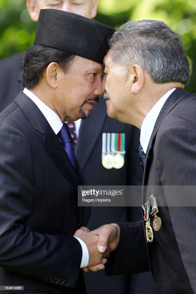 Sultan of Brunei Darussalam, His Majesty Hassanal Bolkiah receives a hongi from Lewis Moeau during a State Welcome at Government House on March 26, 2013 in Wellington, New Zealand. The Sultan of Brunei is being hosted in New Zealand for an official visit over four days to strengthen ties between the two counrties ahead of the Association of South East Asian Nations which is being hosted by Brunei later this year.