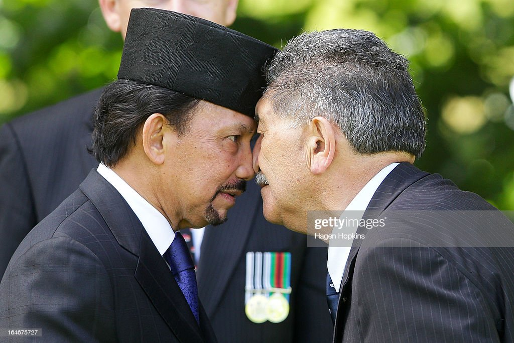 Sultan of Brunei Darussalam, His Majesty Hassanal Bolkiah receives a hongi from Lewis Moeau during a State Welcome at Government House on March 26, 2013 in Wellington, New Zealand. The Sultan of Brunei is being hosted in New Zealand for an official visit over four days to strengthen ties between the two countries ahead of the Association of South East Asian Nations which is being hosted by Brunei later this year.