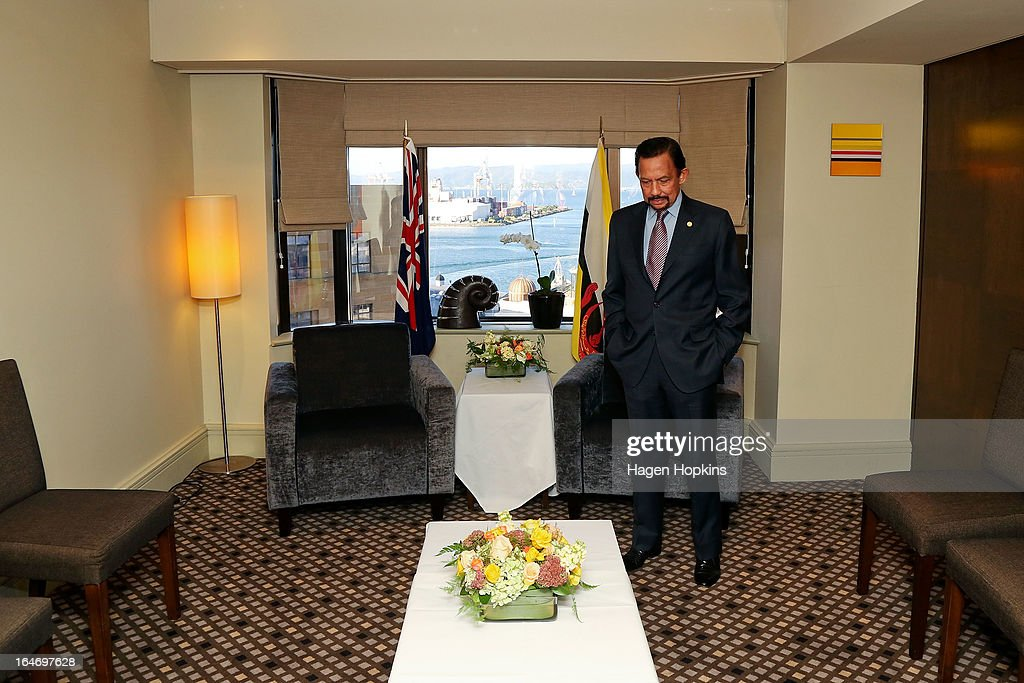 Sultan of Brunei Darussalam, His Majesty Hassanal Bolkiah waits for Labour leader David Shearer at the Intercontinental Hotel on March 27, 2013 in Wellington, New Zealand. The Sultan of Brunei is being hosted in New Zealand for an official visit over four days to strengthen ties between the two countries ahead of the Association of South East Asian Nations which is being hosted by Brunei later this year.